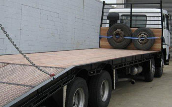 photo of flatbed truck decking shiplap keruing wood